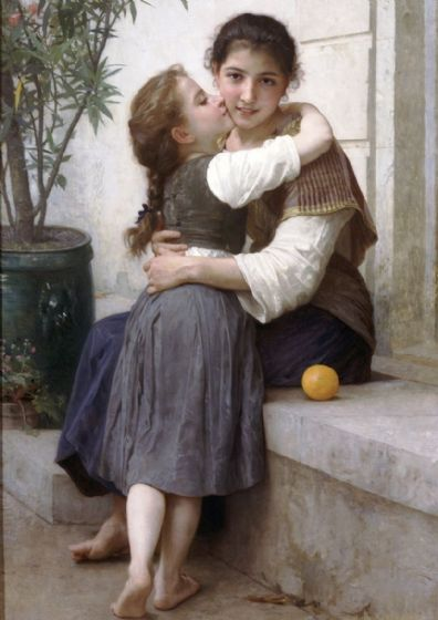 Bouguereau, William Adolphe: A Little Coaxing. Fine Art Print/Poster (4930)